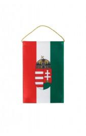 Ungarische Autoflagge mit Wappen auf Rückspiegel